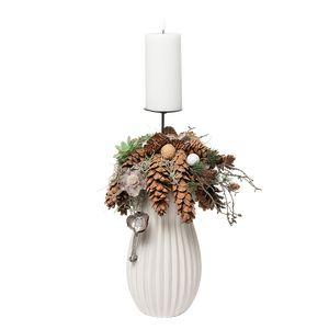 Juledeko. no. 43-21, vase med 1 LED lys, hvid