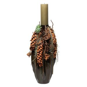 Juledeko. no. 01-21, høj vase m. bloklys, grøn