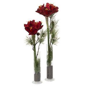 Juledeko. no. 07-21, vasesæt med amaryllus, rød