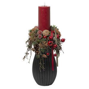 Juledeko. no. 08-21, sort vase med 1 LED lys, rød