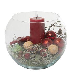 Juledeko. no. 12-21, glasbowle med 1 LED lys, rød