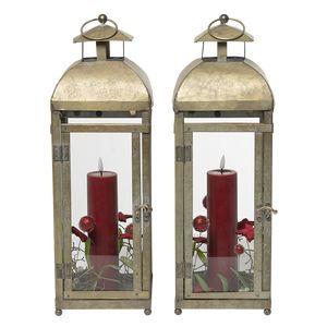 Juledeko. no. 19-21, lanternesæt med LED lys, rød