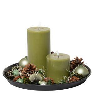 Juledeko. no. 35-21, fad med 2 LED lys, grøn